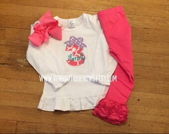 Birthday Bow Number Personalized Shirt Ruffle Pant Set Matching Boutique Bow 1st Birthday 2nd 3rd 4th 5th 6th 7th 8th 9th Girl Baby Party