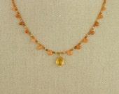 Citrine & Garnet Necklace Carnelian Spessartine Delicate Sparkling Yellow Orange Red Gold