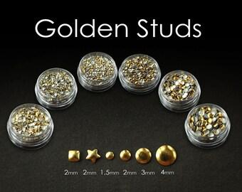 GOLDEN STUDS 5ml jar - Polymer clay nail art embelishment silver Fancy Stuff