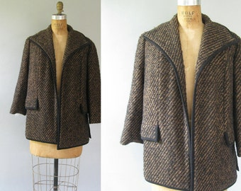 Vintage 1950s Boucle Jacket - 50s Brown and Black Nubby Car Coat - Lady Scott XL