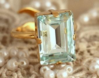 Aquamarine Crystal Ring, Emerald Cut Swarovski Ring, Rhinestone Square Gold Ring, Gift for woman, Wedding jewelry, Trending jewelry.