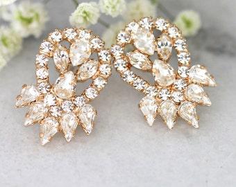 Bridal Earrings, Bridal Clear Crystal Earrings, Crystal Cluster Earrings, Swarovski Crystal Earrings,Bridesmaids Earrings,Rose Gold Earrings