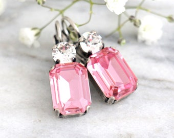 Pink Earrings, Pink Drop Earrings, Pink Swarovski Bridal Earrings, Bridesmaids Earrings, Gift For her, Octagon Dangle Light Pink Earrings