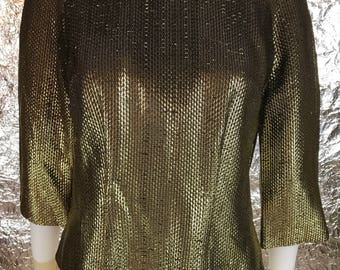 Vintage Metallic Gold Threaded 70's Glam Top  M