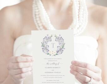 Wedding Invitation Template Printable Lavender Wreath Invitation Suite RSVP Cards Summer Spring Rustic Country Invitation Set Floral Digital