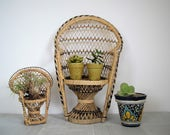 Vintage peacock chair/ mid century plant stand/ boho decor