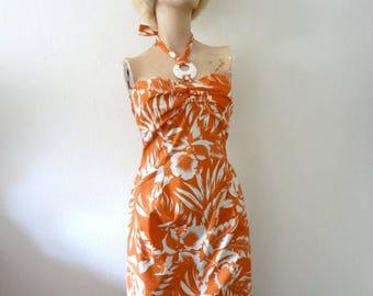 ON SALE 1980s Halter Dress - tropical floral print cotton sundress - vintage resort wear