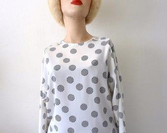 ON SALE 1980s Polka Dot Blouse / silky shirt / designer vintage retro office attire