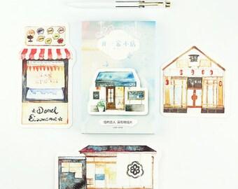 30 Pcs Cute Shop Card - Die Cut Cardstock Scrapbook Embellishment