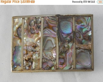 70% OFF MOVING SALE Beautiful Vintage Mexico Sterling Silver ~Abalone Shell Inlay ~Belt Buckle ~ Handmade Beauty