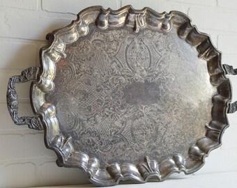 Large Silver Tray, Sheridan Silver Tray, Rectangle Tray, Silver Waiter Tray, Vintage Hotel Silver, Silver Butler Tray, Sheridan Silver