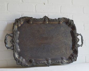 Large Silver Tray, Kent Silver Tray, Rectangle Tray, Silver Waiter Tray, Vintage Hotel Silver, Silver Butler Tray, Kent Silver, Victorian