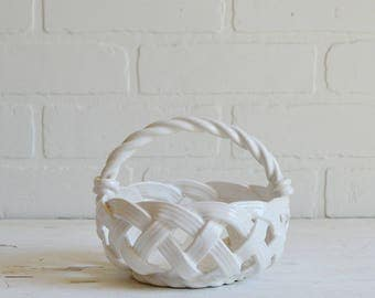 White Ceramic Basket, White Woven Basket, Spring Whites, White Basket, White Weave Basket, White Spring Decor, Spring Basket, Ceramic Basket