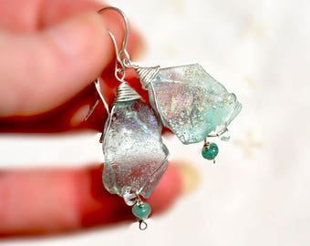 Silver. Roman Glass Silver Earrings. Silver Jewelry. Roman Glass Jewelry. Ancient Roman Glass & Crystal Beads. Made in Israel. Free Shipping