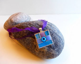 Mosaic Necklace, Turquoise, Periwinkle and Lavender