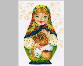 NEW UNOPENED Counted Cross Stitch KIT Alisa 6-05 Matryoshka Summer Beauty