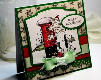 "Handmade Christmas Card Greeting Card 3D 5.25 x 5.25"" Happy Holidays Pets Dog Cat Holiday Season Stationery Paper OOAK"