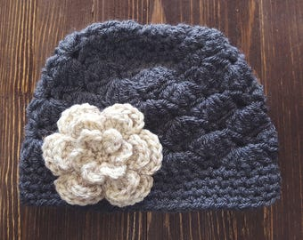 Girl Crochet Hat, Newborn Girl Hat, Gray and Oatmeal Hat, Baby Girl Hat, Newborn Photo Prop, Girls Gray Hat, Baby Girl Beanie