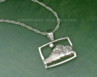 Slightly Abstract MOUNTAIN PENDANT with White Sapphire Moon, Sterling Silver Includes chain