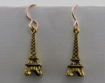 Handmade Effiel Tower Brass  Dangle Earrings Bronze Hooks 1 Inch Length Oscarcrow