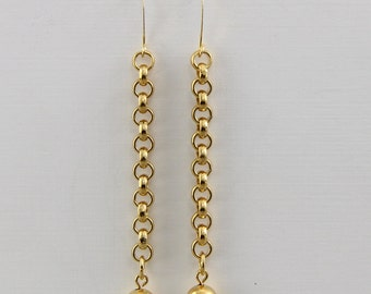 Handmade Ball And Chain  Earrings  Gold Plated Rollo Chain With 8mm Gold Plated Bead Bronze Hooks