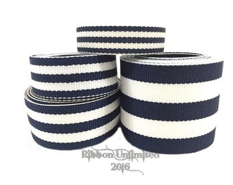 10 Yds WHOLESALE Navy Blue TAFFY Stripes grosgrain ribbon LOW Shipping Cost