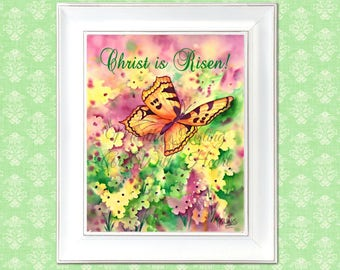 PRINTABLE Easter, Butterfly Printable, Christ is Risen, Easter Watercolor,Watercolor Printable, Digital Art, Download, Art With Heart