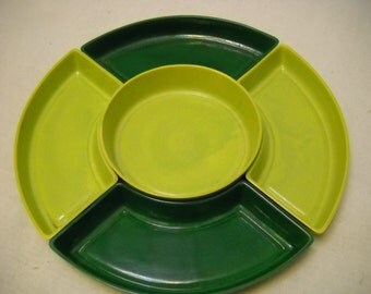 Condiment tray, relish dish, green pottery