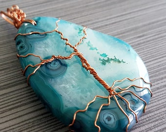 Life Within the Night- Blue Laced Agate and Wire Wrapped Copper Tree of Life Pendant/Necklace