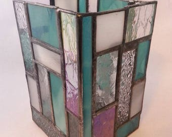 Teal and clear stained glass candle holder