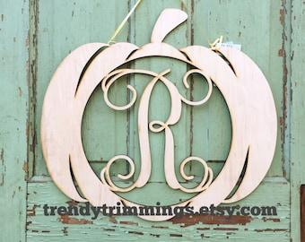 SALE- ready to ship- letter R- Pumpkin Monogram- 1 available- Wooden Monogram Letter- Interlocking Script, Door Hanger Wreath- FREE shipping