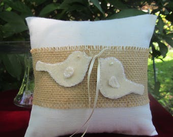 Ivory Unbleached Cotton with Burlap Love Doves Birds Ring Bearer Pillow