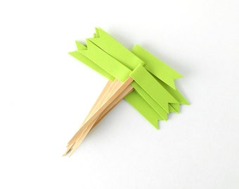 Cupcake Toppers, 12 Bright Green Christmas Flags - Holiday, Party, Dessert, Paper, Wooden Picks, Dozen, December, Decor, Grass, Kelly, Neon