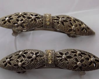 Two vintage sparkly bow hair clips,fashion accessories