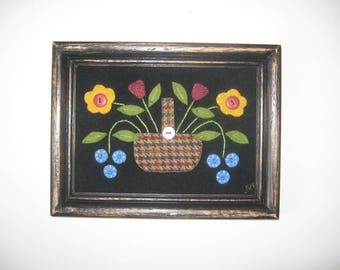 Primitive Framed Wool Applique Flower Basket JKB