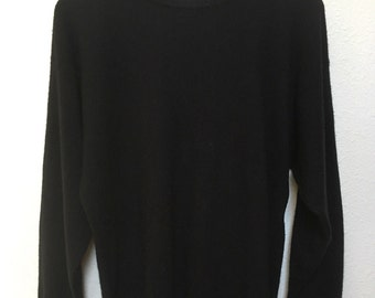 "Vintage black cashmere sweater Bloomingdales, 80s 90s sweater vtg, pullover pinup rockabilly, minimalist basic solid, women L large 42"" bust"