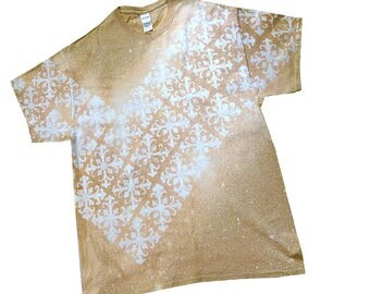 Unisex T-shirts Made-to-Order, Square Fleur Design Slanted, Bleached T-shirts, Choose color, Sizes SM - 4X