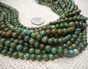 6mm Green/Brown Turquoise Round Gemstone Beads 15 in. strand  T78