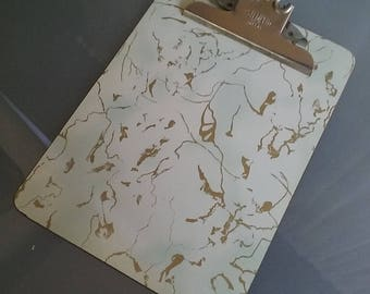 Formica Topped Clip Board, Faux White and Gold Marble, Stempco, Dallas, Vintage Office, Letter Sized Clip Board, Funky, Fun, Photo Holder
