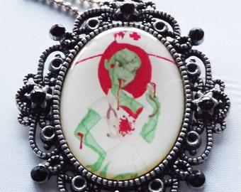 Zombie Nurse Cameo, Rockabilly Jewellery, Gothic cameo pendant, pinup cameo, Zombie necklace, Nurse necklace, horror cameo, horror necklace