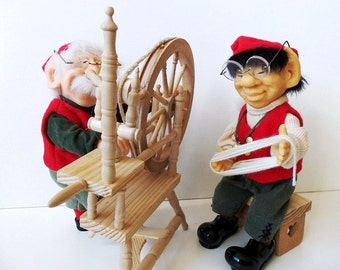 "Zim's Elves Themselves Myron with Spinning Wheel & Chang with Wood Stool, 10 1/2"", 4 Pc RARE"