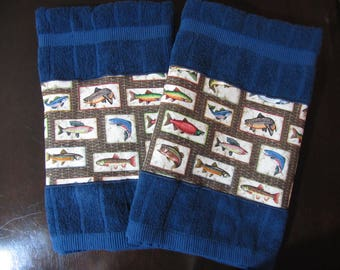 FISH TOWELS Dish Towels for Your Fisherman Hand Towels Kitchen Towels Set of 2