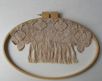 """Vintage Crochet Fringe Wall Hanging - Textile Art - Oval Embroidery Hoop 14"""" x 20"""""""