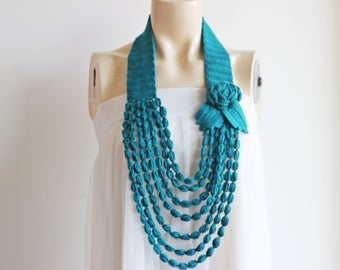 Emerald Green Necklace- Flower Necklace Scarf-  Jewelry Scarf-Handmade Loop Scarf -Vegan Scarf-Cotton Summer Necklace