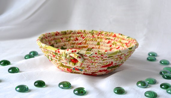 Desk Accessory Bowl, Handmade Holiday Basket, Homemade Christmas Candy Dish, Christmas Decoration, Decorative Holiday Bowl