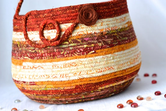 Red Country Basket, Handmade Coiled Fabric Basket, Knitting Basket, Lovely Tote Bag, Beautiful Batik Fiber Art Basket, Fall Decor