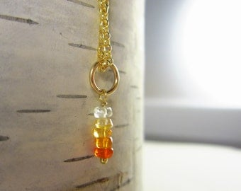 Gem Stack - Shaded Mexican Fire Opal Jewelry - Red Opal Necklace Charms - Orange Opal Stone Jewelry - Add On Charms - 14k Gold Charms