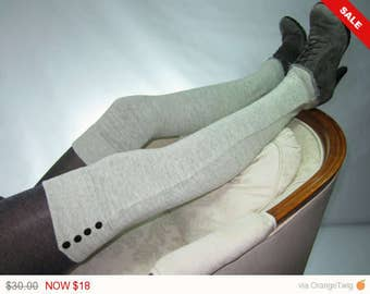 Sale -  Thigh High Boot Socks Light Grey Over the Knee Socks Gray Cotton Knit Leggings with Black button accents A1864