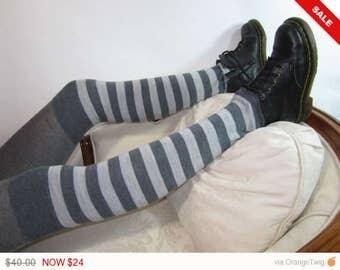 Sale -  Merino Wool Thigh High Boot Socks Leg Warmers Gray Grey Striped Long Tall Knit Anime Costume A965