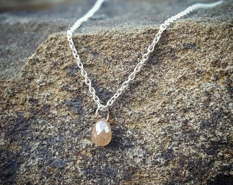 Womens Diamond Necklace  Gift for Women April Birthstone Jewelry Raw Diamond Necklaces Silver Rough Diamond Natural Peach Diamond Pendant